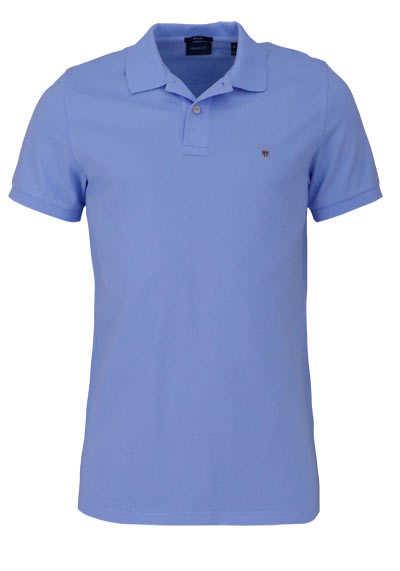 GANT Regular Poloshirt Halbarm geknöpfter Kragen Pique hellblau - Hemden Meister