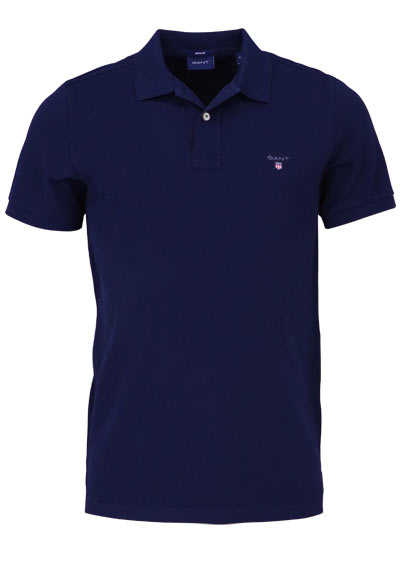 GANT Regular Poloshirt Halbarm geknöpfter Kragen Pique navy - Hemden Meister