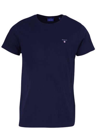 GANT Halbarm T-Shirt Regular Fit Baumwolle Logo-Stick navy - Hemden Meister
