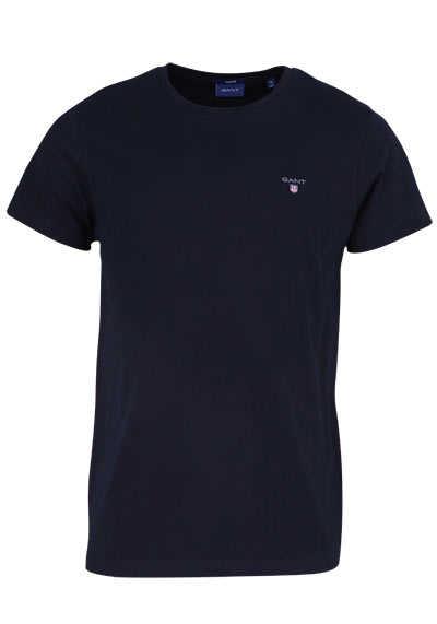 GANT Halbarm T-Shirt Regular Fit Baumwolle Logo-Stick schwarz - Hemden Meister