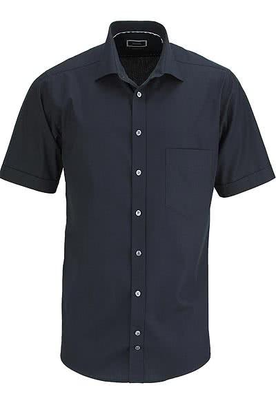 HATICO Regular Fit Hemd Halbarm mit Brusttasche schwarz - Hemden Meister