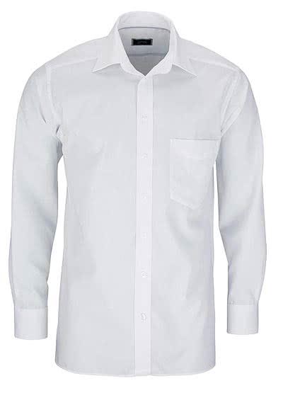 HATICO Regular Fit Hemd Langarm mit Brusttasche weiß - Hemden Meister