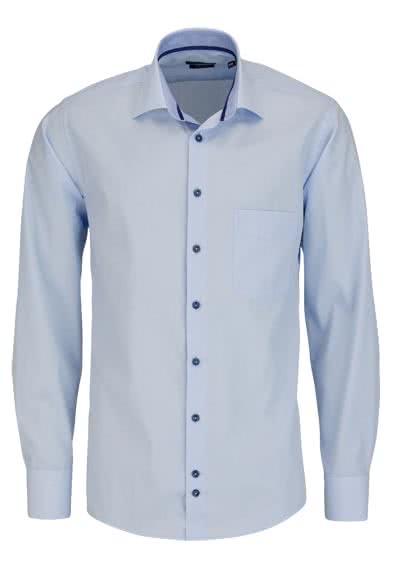 HATICO Regular Fit Hemd Langarm New Kent mit Besatz hellblau - Hemden Meister