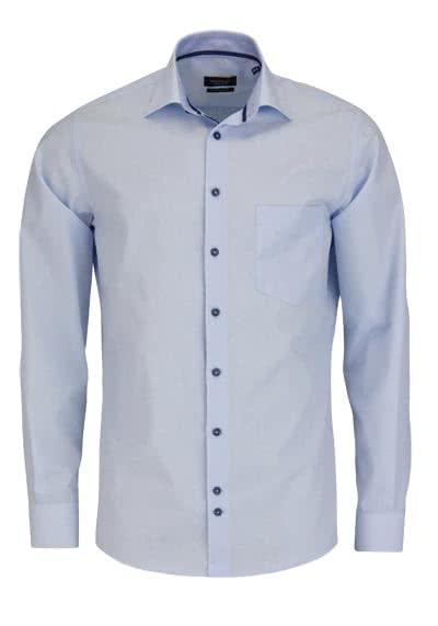 HATICO Modern Fit Hemd Langarm New Kent mit Besatz hellblau - Hemden Meister