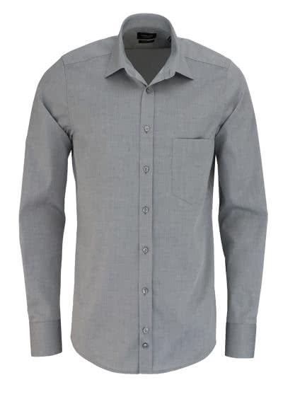 HATICO Modern Fit Hemd Langarm mit Brusttasche grau - Hemden Meister