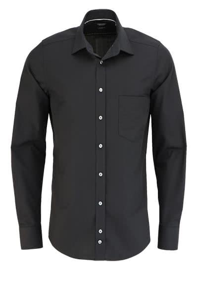 HATICO Modern Fit Hemd Langarm mit Brusttasche schwarz - Hemden Meister