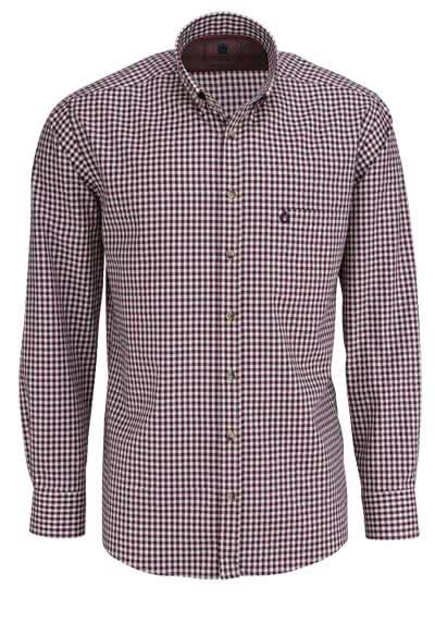 HATICO Regular Fit Hemd Langarm Button Down Kragen Karo weinrot - Hemden Meister