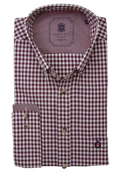 HATICO Regular Fit Hemd Langarm Button Down Kragen Karo weinrot