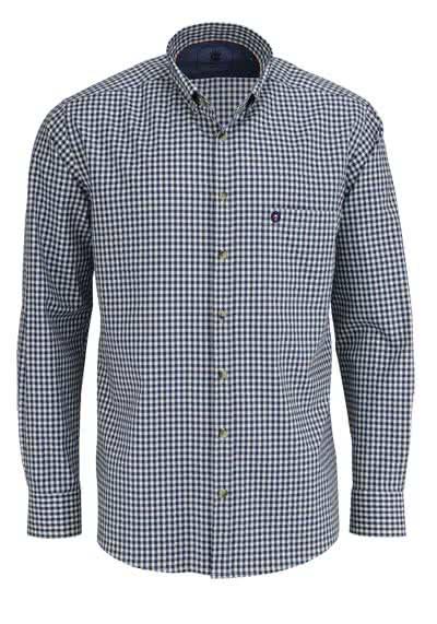 HATICO Regular Fit Hemd Langarm Button Down Kragen Karo dunkelblau - Hemden Meister