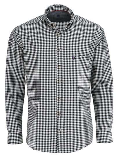 HATICO Regular Fit Hemd Langarm Button Down Kragen Karo schwarz - Hemden Meister