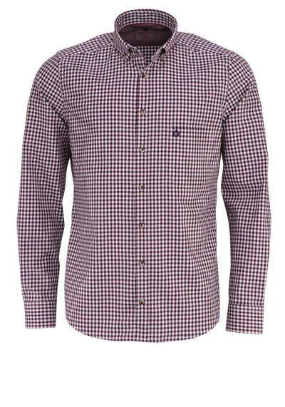 HATICO Modern Fit Hemd Langarm Button Down Kragen Karo weinrot - Hemden Meister