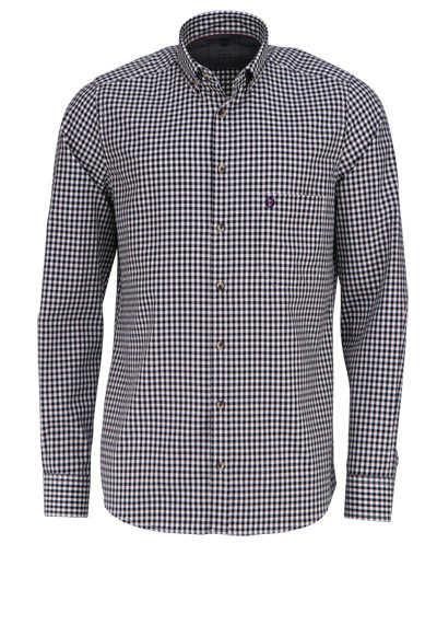 HATICO Modern Fit Hemd Langarm Button Down Kragen Karo schwarz - Hemden Meister