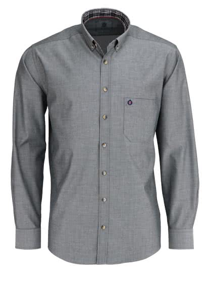 HATICO Regular Fit Hemd Langarm Button Down Kragen Feintwill anthrazit - Hemden Meister