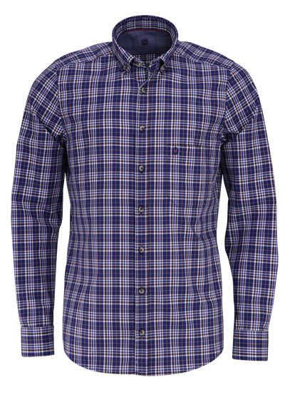 HATICO Modern Fit Hemd Langarm Button Down Kragen Karo blau - Hemden Meister