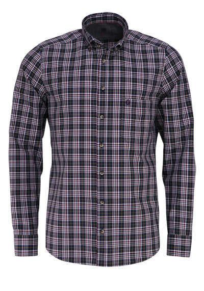 HATICO Modern Fit Hemd Langarm Button Down Kragen Karo anthrazit - Hemden Meister