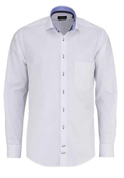 HATICO Regular Fit Hemd Langarm Haifischkragen mit Besatz weiß - Hemden Meister
