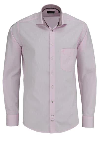 HATICO Regular Fit Hemd Langarm Haifischkragen mit Besatz rosa - Hemden Meister