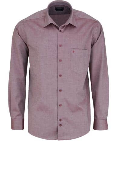 HATICO Regular Fit Hemd Langarm New Kent Kragen Struktur dunkelrot - Hemden Meister