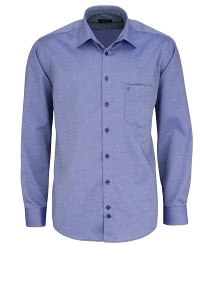 HATICO Regular Fit Hemd Langarm New Kent Kragen Struktur mittelblau - Hemden Meister
