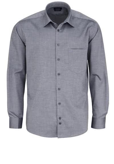 HATICO Regular Fit Hemd Langarm New Kent Kragen Struktur anthrazit - Hemden Meister