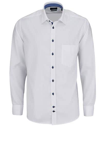 HATICO Regular Fit Hemd Langarm New Kent Kragen Struktur weiß - Hemden Meister