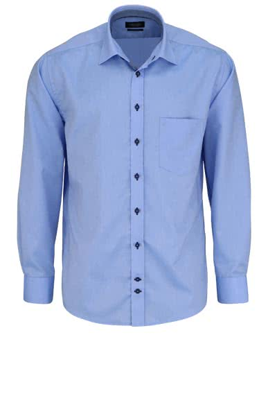 HATICO Regular Fit Hemd Langarm New Kent Kragen Struktur hellblau - Hemden Meister