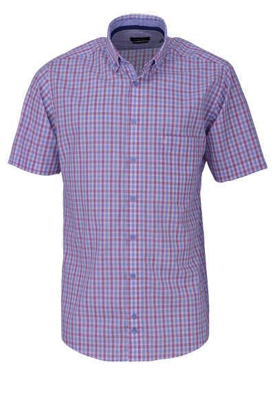 HATICO Regular Fit Hemd Halbarm Button Down Kragen Karo blau - Hemden Meister