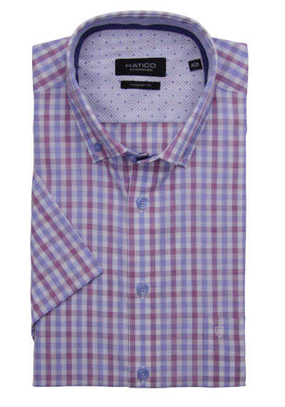 HATICO Regular Fit Hemd Halbarm Button Down Kragen Karo blau