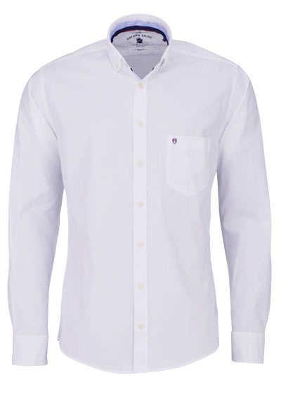 HATICO Regular Fit Hemd Langarm Button Down Kragen Struktur weiß
