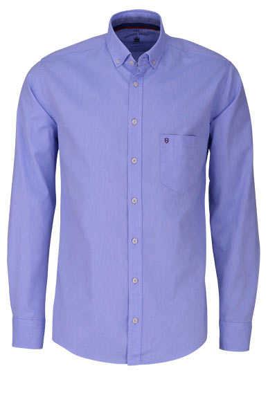 HATICO Regular Fit Hemd Langarm Button Down Kragen Struktur blau
