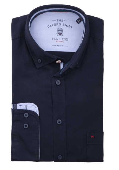 HATICO Regular Fit Hemd Langarm Button Down Kragen Struktur nachtblau