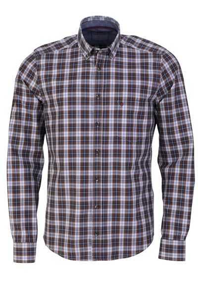 HATICO Modern Fit Hemd Langarm Button Down Kragen Karo braun - Hemden Meister