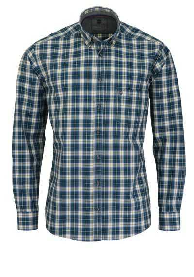 HATICO Regular Fit Hemd Langarm Button Down Kragen Karo blau - Hemden Meister