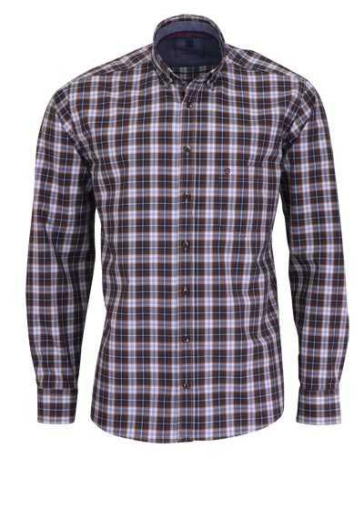 HATICO Regular Fit Hemd Langarm Button Down Kragen Karo braun - Hemden Meister