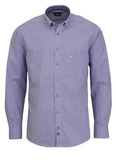 HATICO Modern Fit Hemd Langarm Haifischkragen Karo blau - Hemden Meister