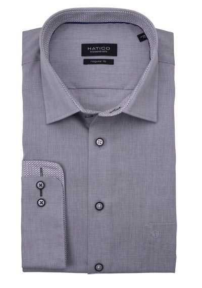 HATICO Regular Fit Hemd Langarm New Kent Kragen Chambray grau