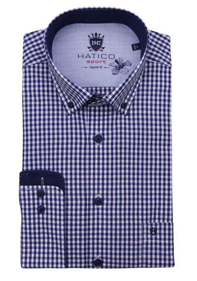 HATICO Regular Fit Hemd Langarm Button Down Kragen Karo lila