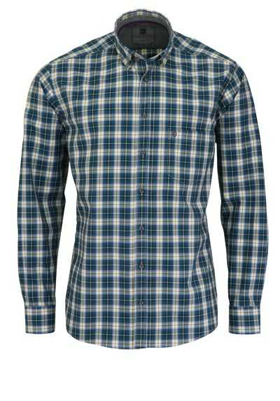 HATICO Regular Fit Hemd Langarm Button Down Kragen Karo blau preisreduziert