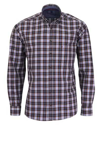HATICO Regular Fit Hemd Langarm Button Down Kragen Karo braun