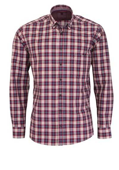 HATICO Regular Fit Hemd Langarm Button Down Kragen Karo rot preisreduziert