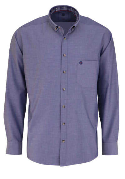 HATICO Regular Fit Hemd Langarm Button Down Kragen dunkelblau