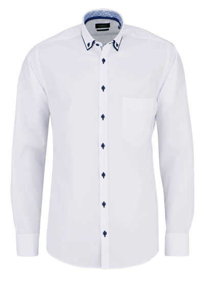 HATICO Regular Fit Hemd Langarm Button Down Kragen mit Besatz weiß
