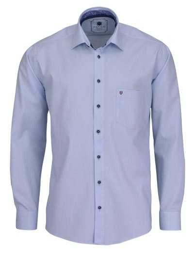 HATICO Regular Fit Hemd Langarm New Kent Kragen hellblau