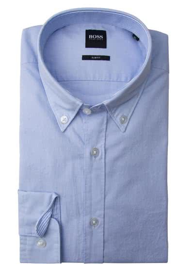 BOSS BUSINESS Slim Hemd ROD Langarm Button Down Kragen hellblau preisreduziert