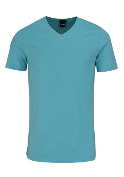 BOSS Regular Fit Kurzarm T-Shirt CANISTRO V-Ausschnitt türkis - Hemden Meister