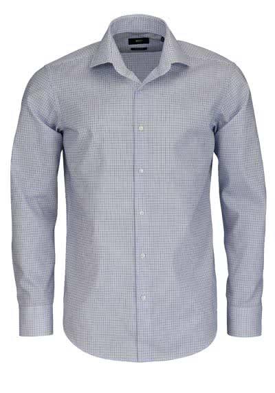 BOSS BUSINESS Regular Fit Hemd extra langer Arm GORDON Karo blau - Hemden Meister
