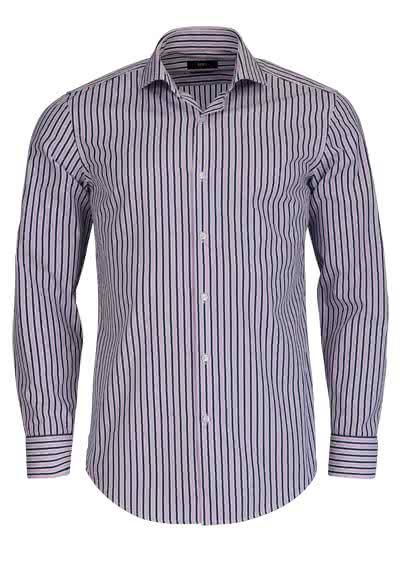 BOSS Slim Hemd Langarm JASON Haifischkragen Streifen rosa - Hemden Meister