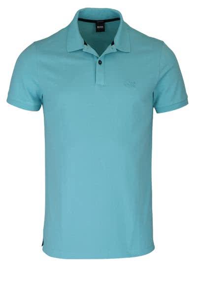 BOSS BUSINESS Poloshirt PALLAS Halbarm geknöpfter Pique aqua - Hemden Meister