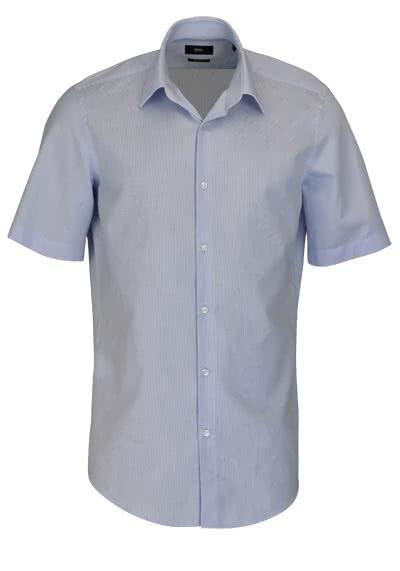 BOSS BUSINESS Regular Fit Hemd Kurzarm CINZIO Streifen blau - Hemden Meister
