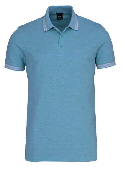BOSS Halbarm Poloshirt PADDY Polokragen geknöpft Pique aqua - Hemden Meister